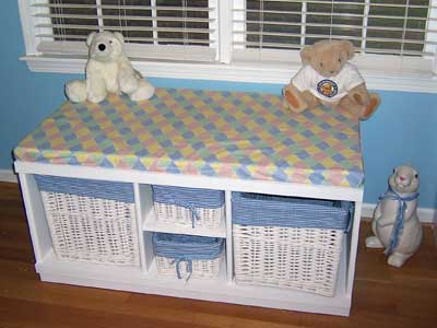 Custom Window Seat With Basket Toy Storage